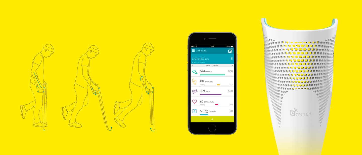 Werksdesign e-crutch mobile smartphone app interface medical design study ergonomic concept